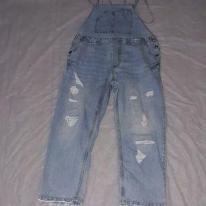 Zara Basic Z1975 Denim Distressed Overalls Sz L